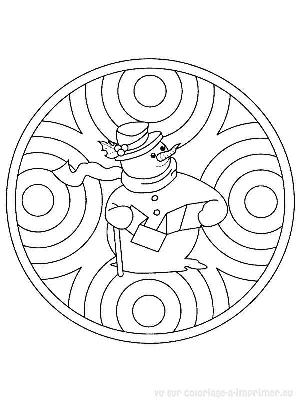 Coloriage Mandala Bonhomme de Noel dessin gratuit à imprimer