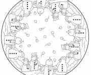 Coloriage et dessins gratuit Mandala Bonhommes de Neige à imprimer