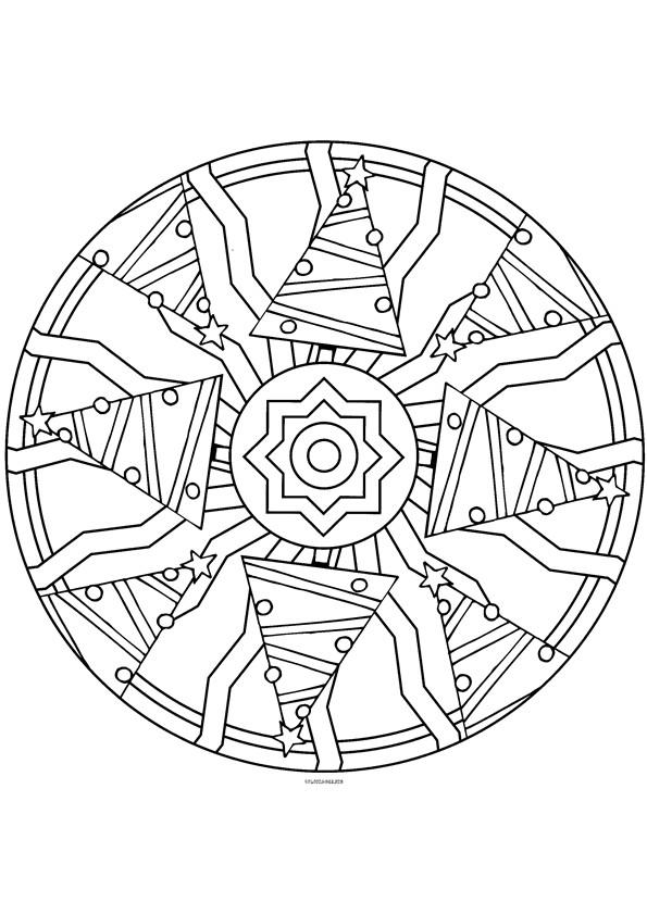 Coloriage et dessins gratuits Mandala Célébration de Noel à imprimer
