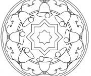 Coloriage et dessins gratuit Mandala Cloche de Noel à imprimer