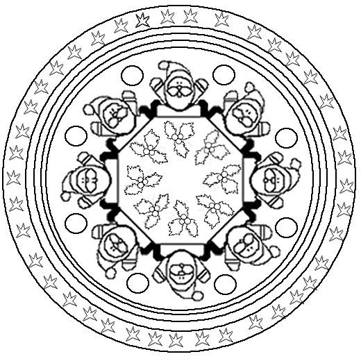 Coloriage et dessins gratuits Mandala fête Noel à imprimer