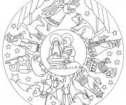 Coloriage et dessins gratuit Mandala Flocon Jésus à imprimer