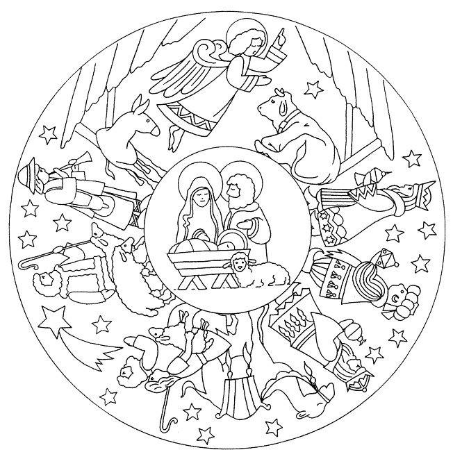 Coloriage et dessins gratuits Mandala Flocon Jésus à imprimer