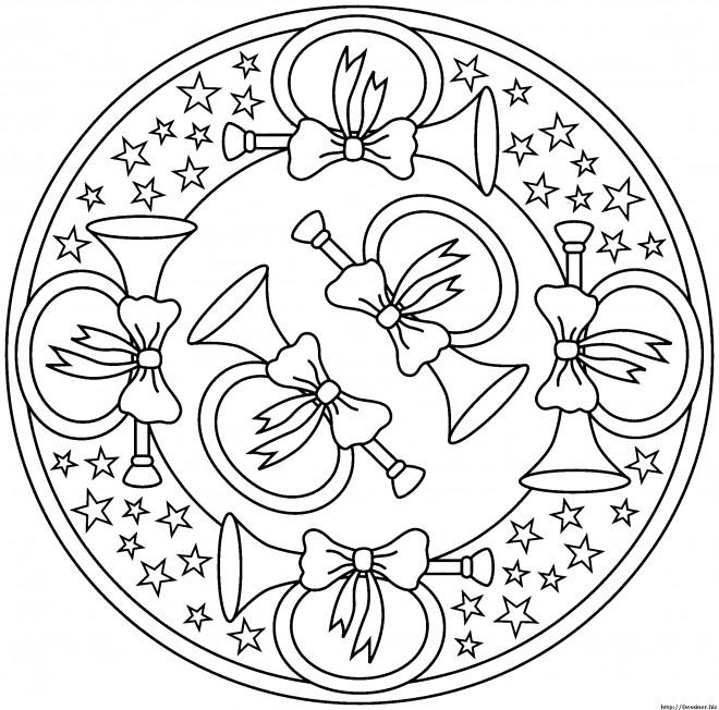 Coloriage et dessins gratuits Mandala Les trompettes de Noel à imprimer