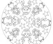 Coloriage et dessins gratuit Mandala Noel Ange à imprimer