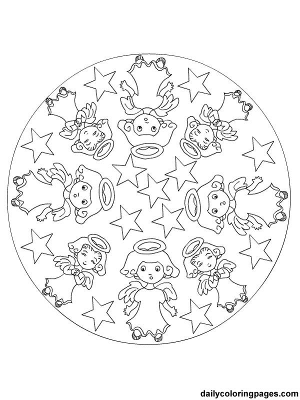 Coloriage et dessins gratuits Mandala Noel Ange à imprimer