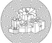Coloriage et dessins gratuit Mandala Noel Cadeaux à imprimer