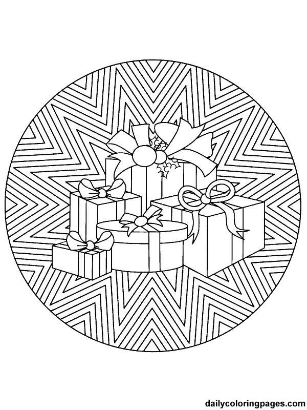 Coloriage et dessins gratuits Mandala Noel Cadeaux à imprimer