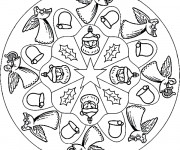 Coloriage et dessins gratuit Mandala Noel en couleur à imprimer