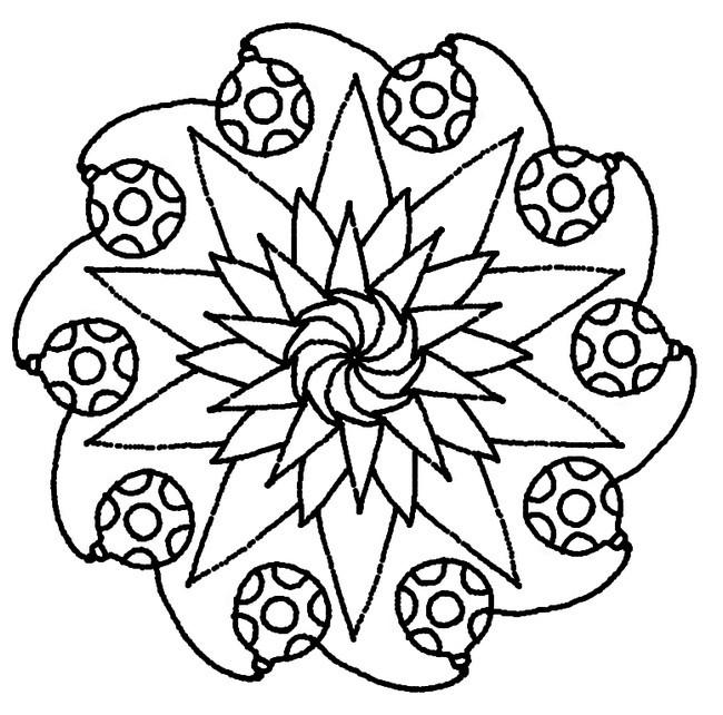 Coloriage et dessins gratuits Mandala Noel en noir et blanc à imprimer