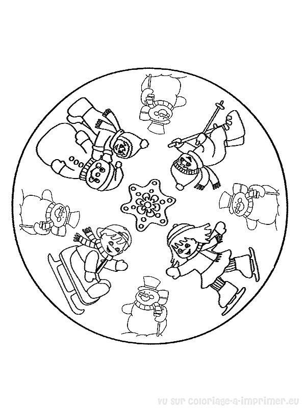Coloriage Bonhomme De Neige Mandala.Coloriage Mandala Noel Et L Hiver Dessin Gratuit A Imprimer