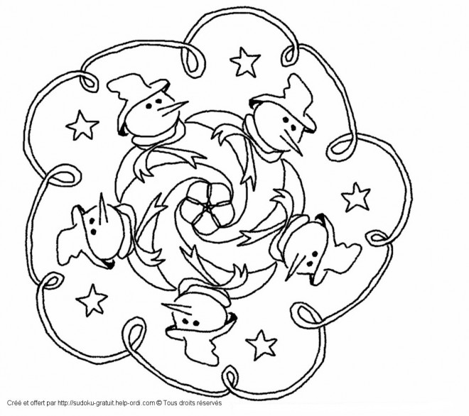 Coloriage Mandala Noel En Ligne.Coloriage Mandala Noel Magique Dessin Gratuit A Imprimer