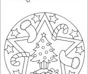 Coloriage et dessins gratuit Mandala Noel maternelle à imprimer