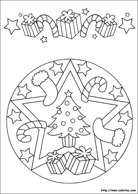 Coloriage et dessins gratuits Mandala Noel maternelle à imprimer