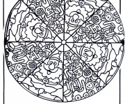 Coloriage et dessins gratuit Mandala Père Noel à imprimer