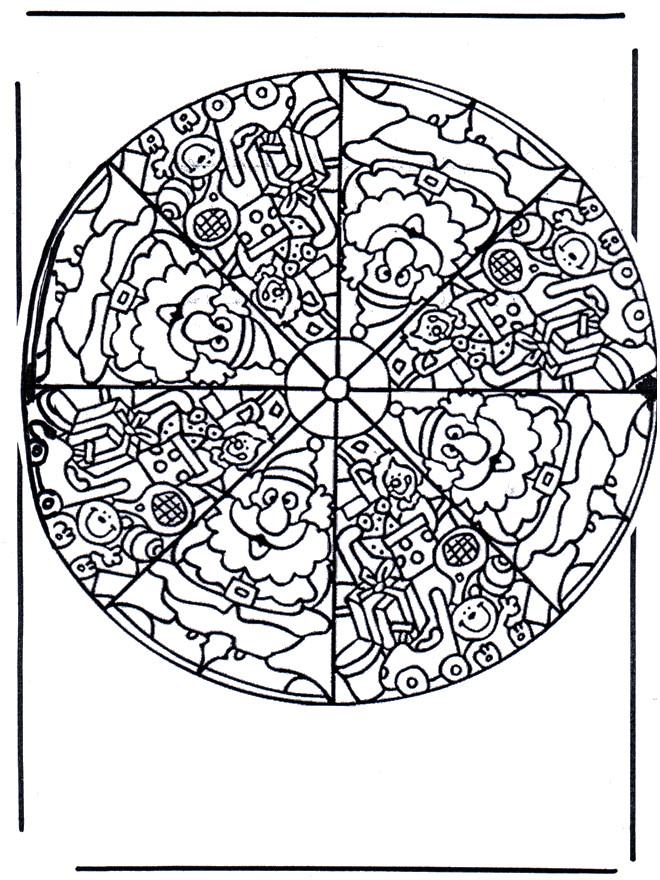 Coloriage et dessins gratuits Mandala Père Noel à imprimer