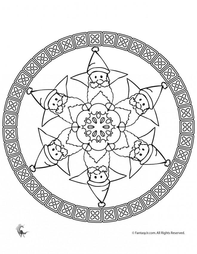 Coloriage et dessins gratuits Mandala Père Noel avec sa barbe à imprimer