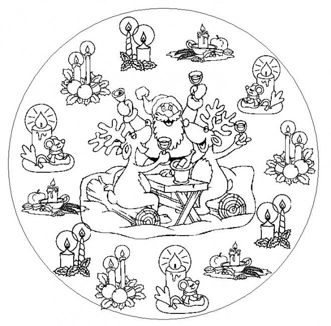 Coloriage et dessins gratuits Mandala Père Noel humoristique à imprimer