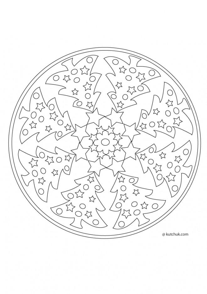 Coloriage mandala sapin de noel simple dessin gratuit imprimer - Mandala de noel a colorier et imprimer ...