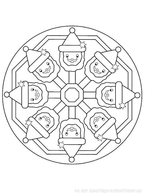 Coloriage et dessins gratuits Mandala Tête de Père Noel à imprimer