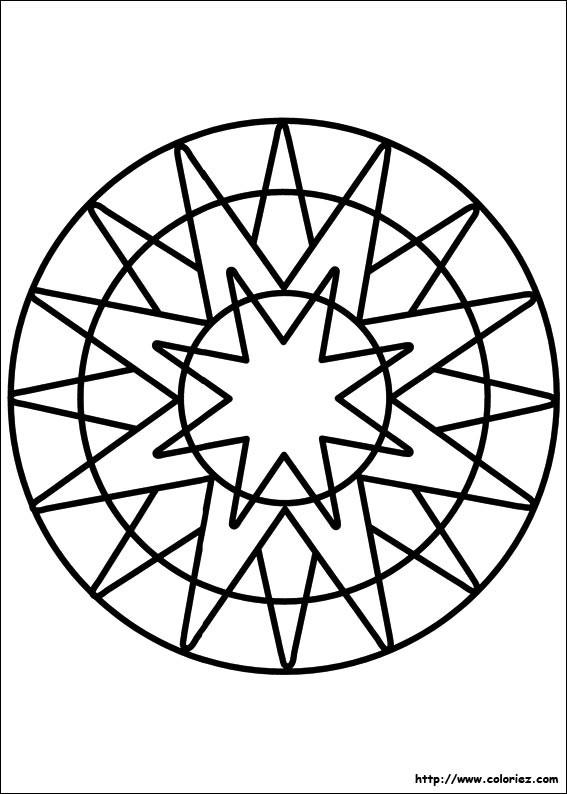 Coloriage et dessins gratuits Mandala Facile en vecteur à imprimer