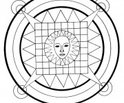 Coloriage dessin  Mandala Soleil 2