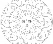 Coloriage dessin  Mandala Soleil 5