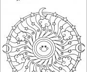 Coloriage dessin  Mandala Soleil 7