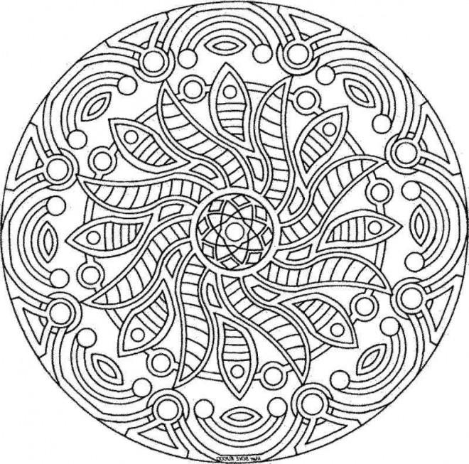 Coloriage et dessins gratuits Mandala Soleil difficile à imprimer