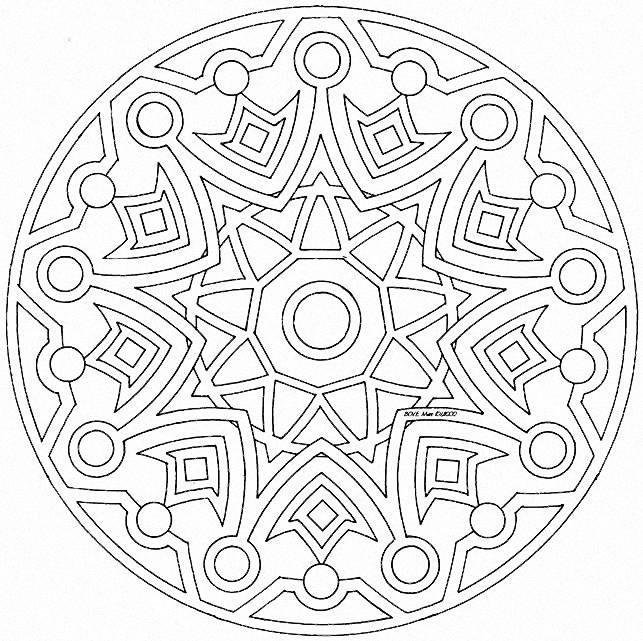 Coloriage et dessins gratuits Mandala Soleil difficile en ligne à imprimer