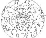 Coloriage Mandala Soleil et Chevaux