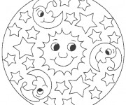 Coloriage Mandala Soleil et Lune