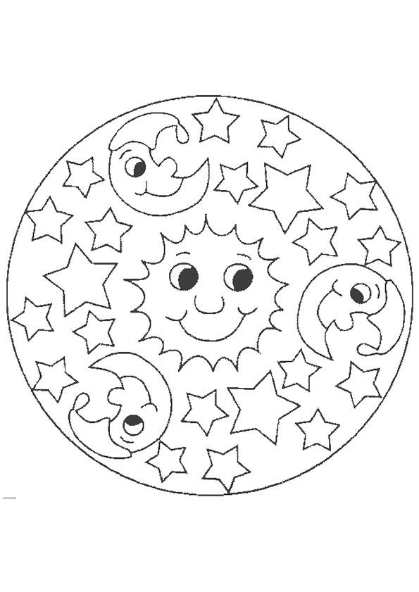 Coloriage et dessins gratuits Mandala Soleil et Lune à imprimer