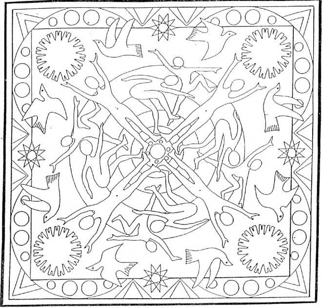 Coloriage et dessins gratuits Mandala Soleil et Nature à imprimer