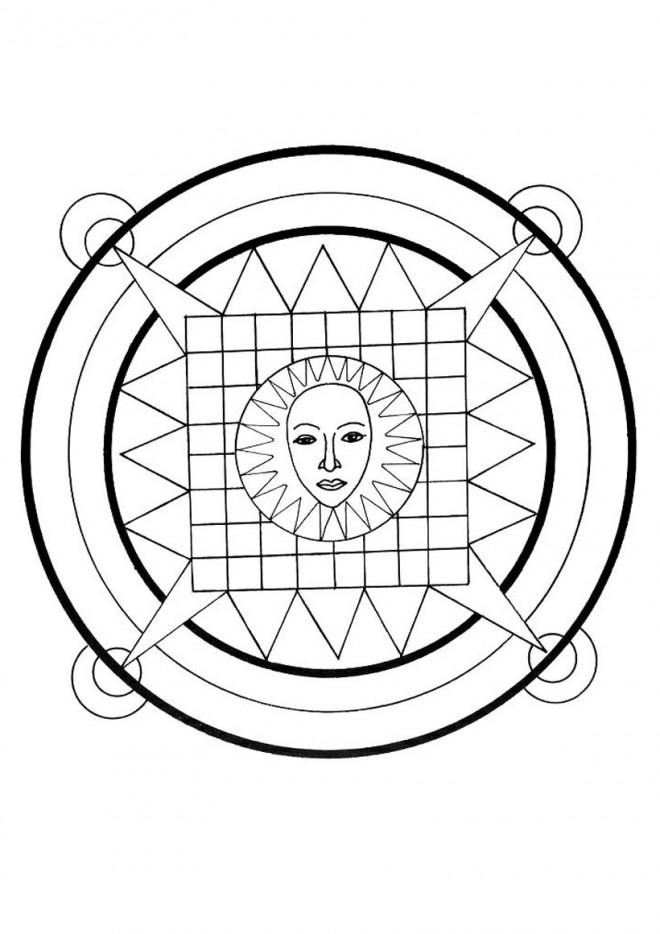 Coloriage et dessins gratuits Mandala Soleil facile à imprimer