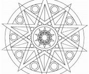 Coloriage Mandala Soleil Géométrique