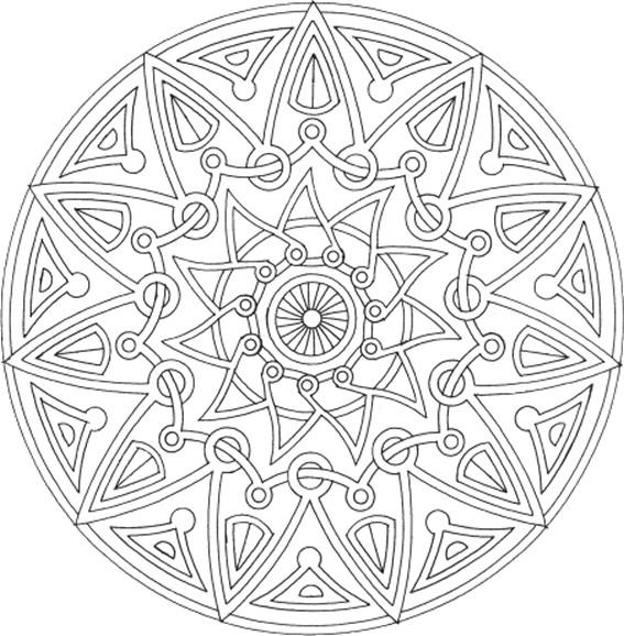 Coloriage et dessins gratuits Mandala Soleil magique à télécharger à imprimer