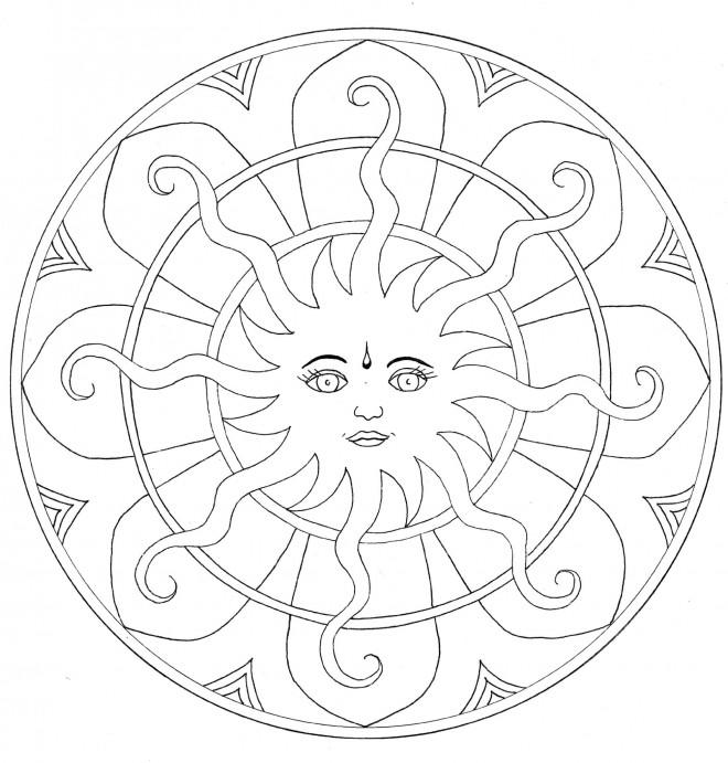 Coloriage et dessins gratuits Mandala Soleil personnalisé à imprimer
