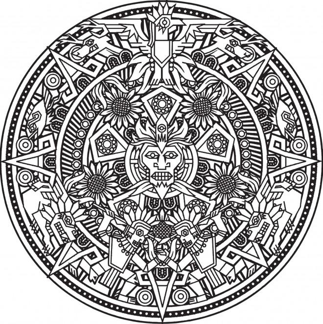 Coloriage et dessins gratuits Mandala Soleil pour adulte à imprimer