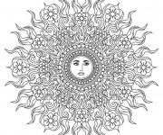 Coloriage Mandala Soleil pour relaxer