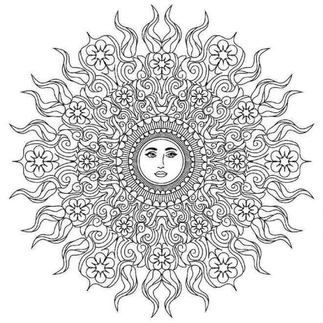Coloriage et dessins gratuits Mandala Soleil pour relaxer à imprimer