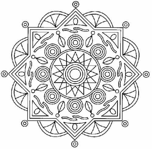 Coloriage et dessins gratuits Mandala Soleil relaxant à imprimer