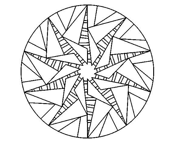 Coloriage et dessins gratuits Mandala Soleil stylisé à imprimer