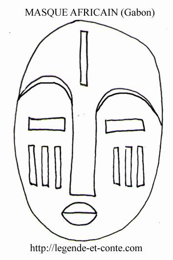 Coloriage masque africain au gabon dessin gratuit imprimer - Masque africain a imprimer ...