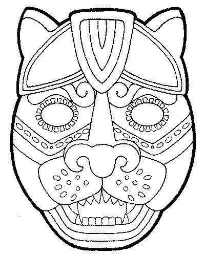 Coloriage masque animaux pour d coupage dessin gratuit - Dessin de masque africain ...
