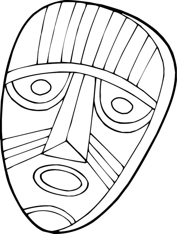 Coloriage Masque Africain en noir et blanc dessin gratuit à imprimer