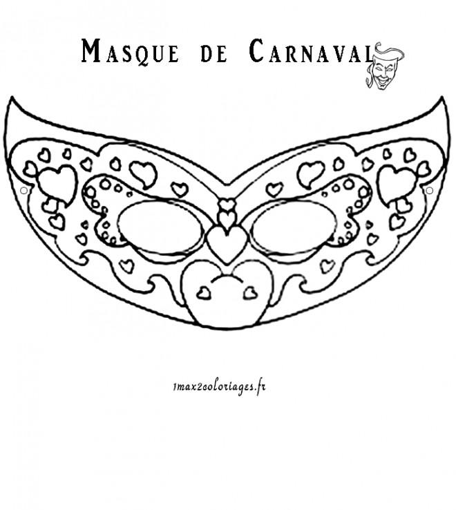 Coloriage masque carnaval en coeur dessin gratuit imprimer - Masque de carnaval de venise a imprimer ...