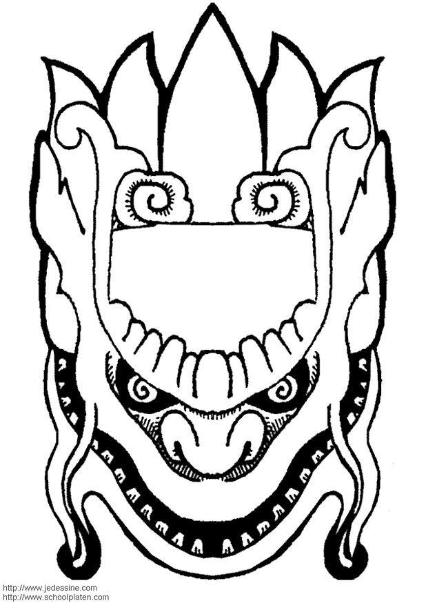 Coloriage masque chinois dessin gratuit imprimer - Masque canard a imprimer ...