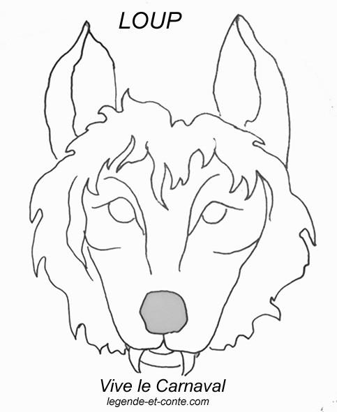 Coloriage masque de loup au crayon dessin gratuit imprimer - Masque loup a imprimer ...
