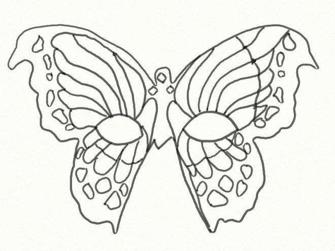 Coloriage masque de papillon au crayon dessin gratuit imprimer - Masque de carnaval de venise a imprimer ...